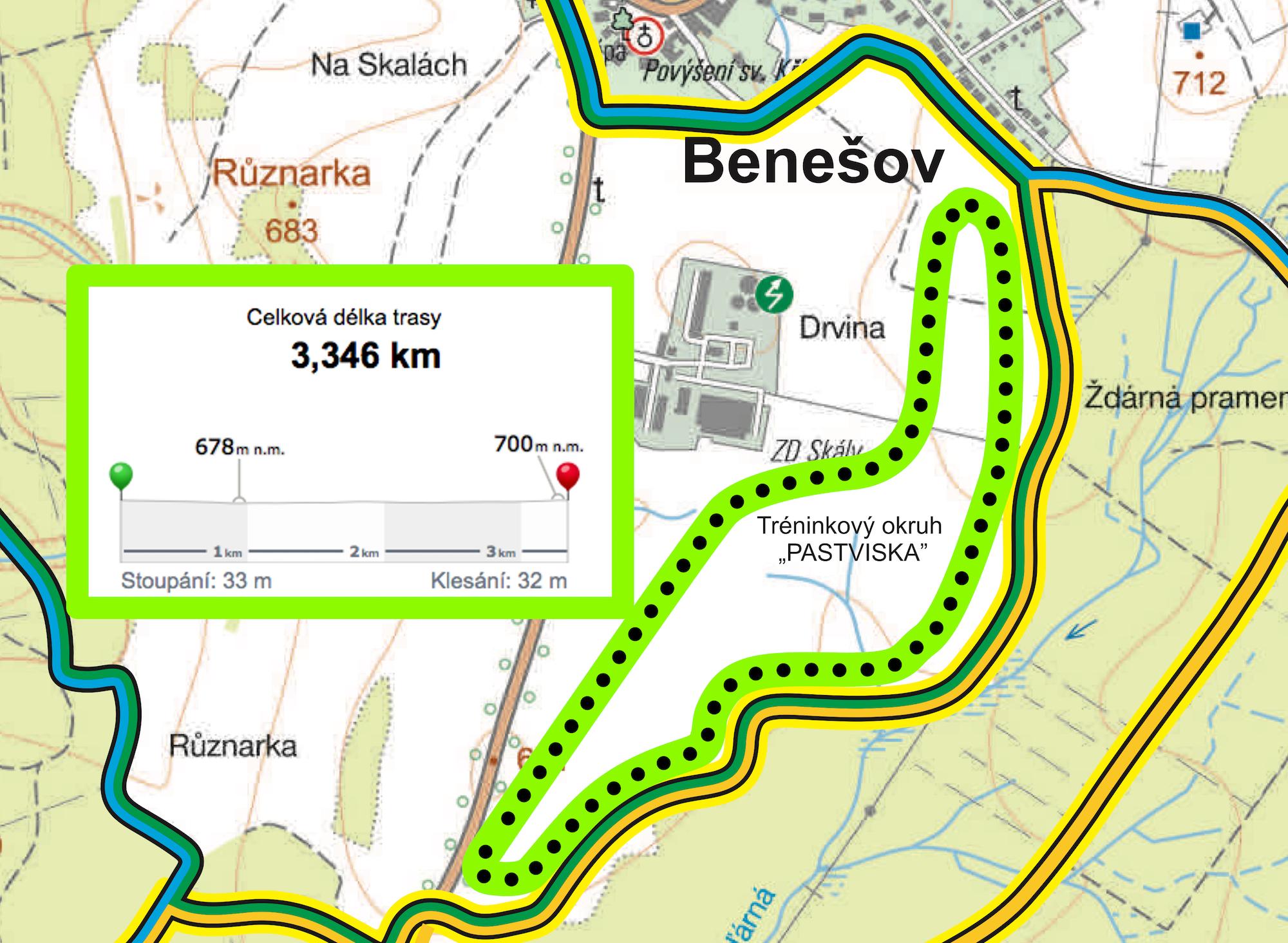 První strojově upravené trasy jsou na stadionech Benešovská Pastviska a na kořeneckém golfovém hřišti.